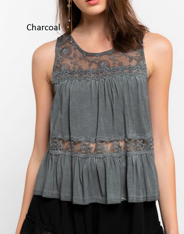 Charcoal Lace Trim Embroidered Tank Top