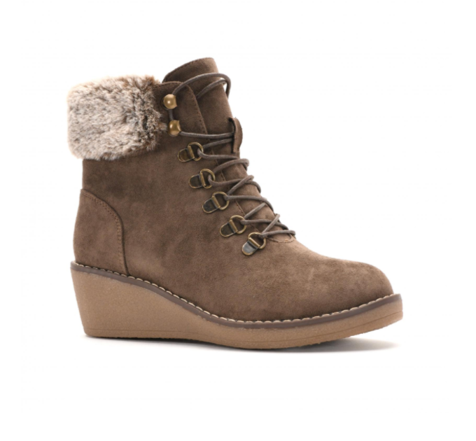 Chocolate Corkys Footwear Fox Bay Boot Wedges with Fur