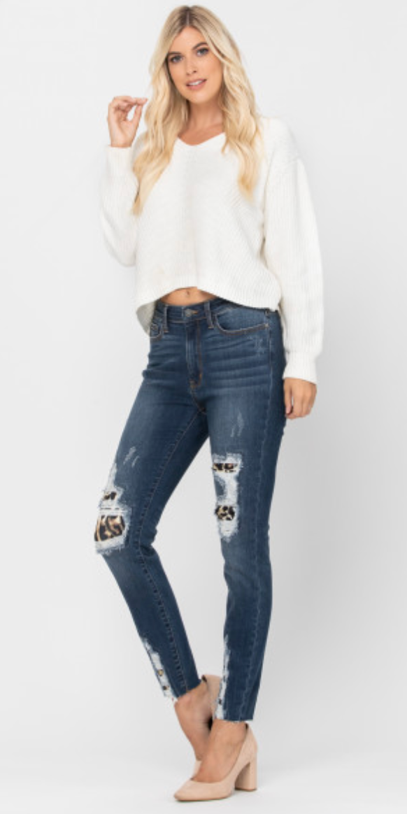 Judy Blue Jeans NEW RELEASE High Waist Leopard Patch Skinny