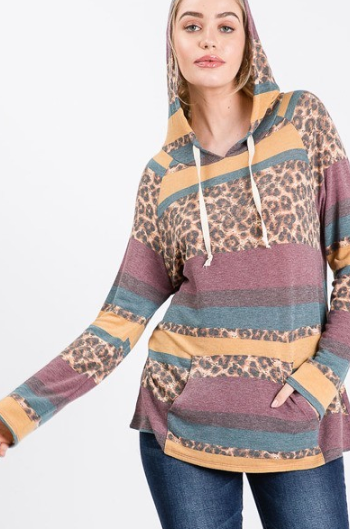Animal Print Long Sleeve Hoodie