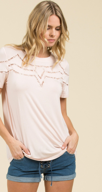 Blush Short Sleeve Tee with Lace Insert Detail