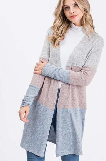 Soft Sweater Color Block Cardigan