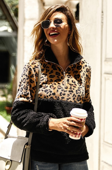 Leopard Print and Black Sherpa Pullover
