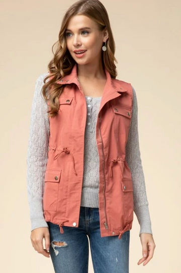 Zip Up Cargo Vest in Salmon