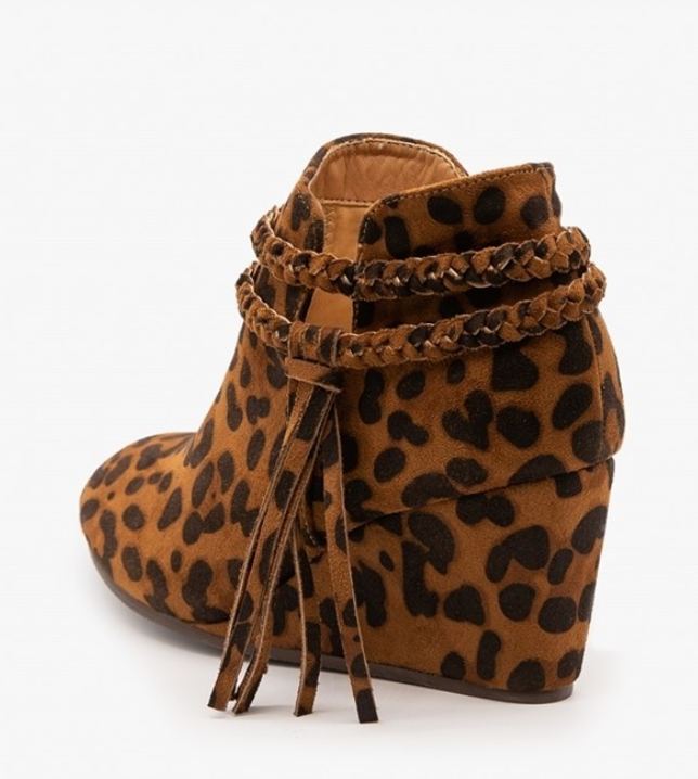 Retro Chunky Stacked Heel Leopard Wedge Booties