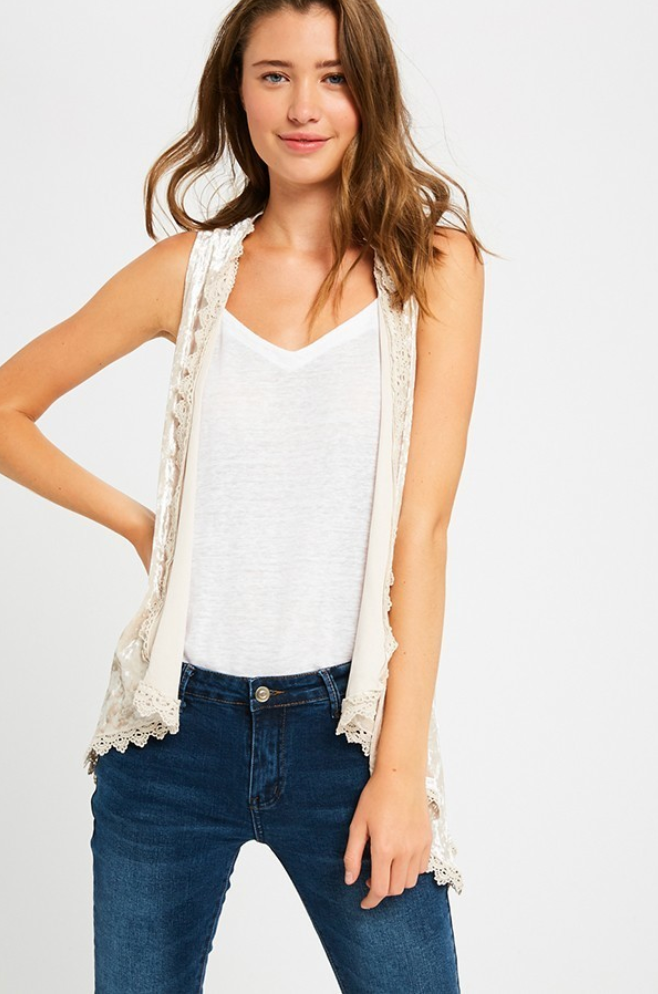 Velvet Laced Waterfall Vest in Taupe