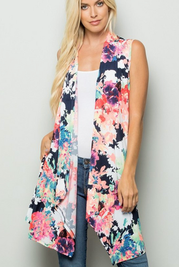 Navy Floral Print Kimono with Pockets