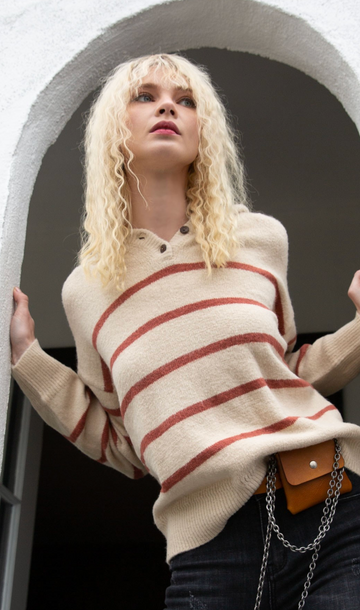 Beige Stylish Hoodie Sweater with Contrast Stripes