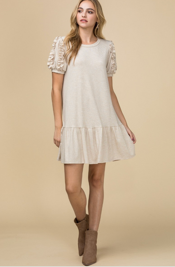 Oatmeal Solid Drop Waist Dress with Ruffle Puff Sleeve