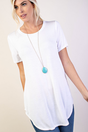 White Short Sleeve Basic Hi-Lo Round Neck Top