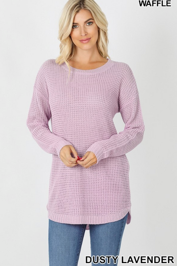 Dusty Lavender Hi-Lo Long Sleeve Waffle Sweater with Round Neck