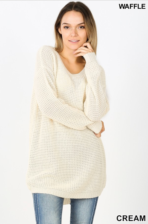 Cream Hi-Lo Long Sleeve Waffle Sweater with Round Neck