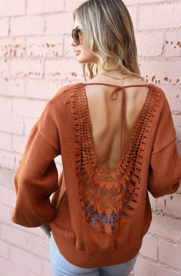 Rust Open Back Lace Detail Sweater Top