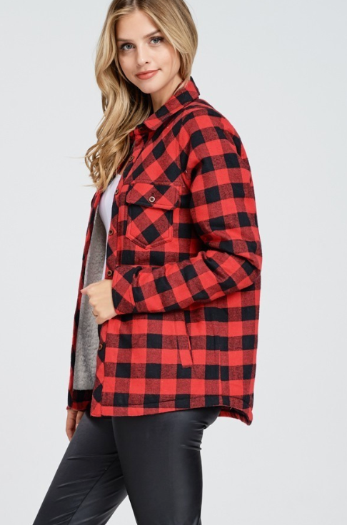 Red Buffalo Plaid Sherpa Lined Flannel Long Sleeve