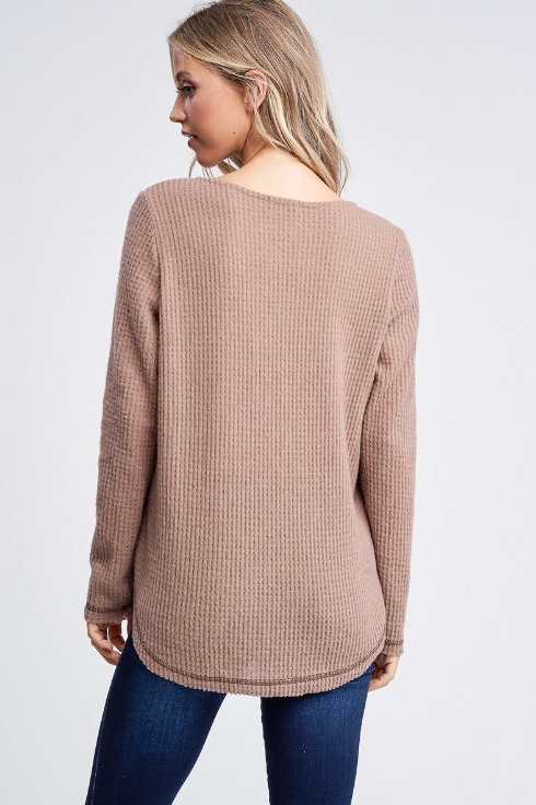 Mocha Long Sleeve Criss Cross V-Neck Hi-Lo Top