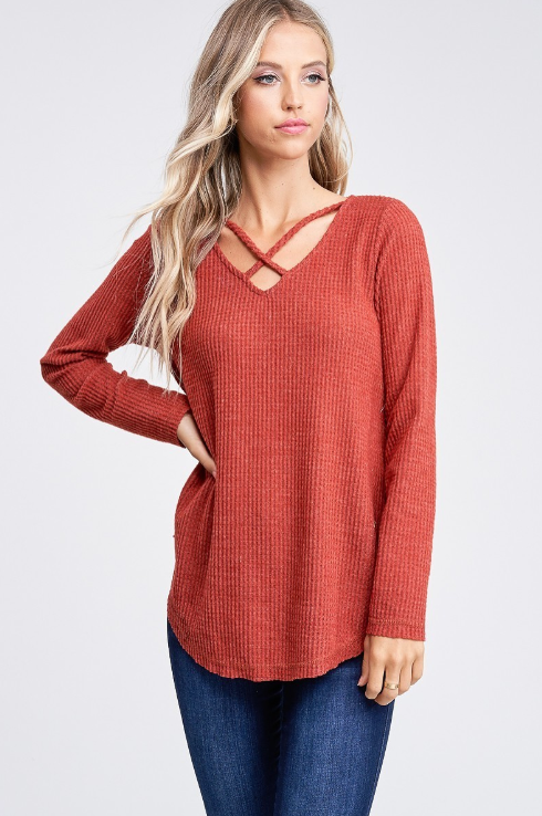 Rust Long Sleeve Criss Cross V-Neck Hi-Lo Top
