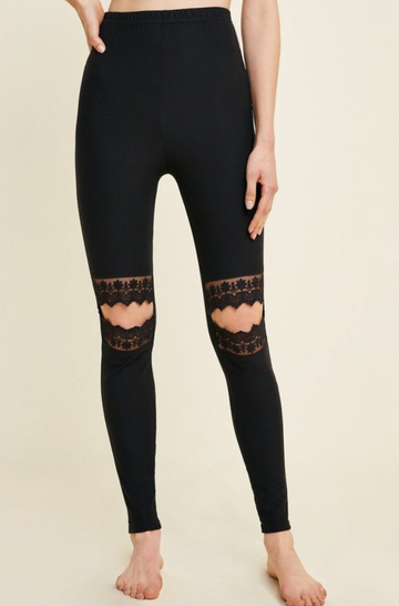 Black Lace Knee Cut-Out Brushed Leggings