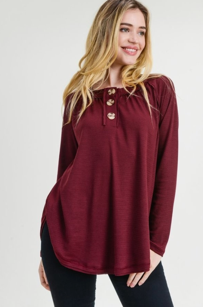 Red Bean Solid Thermal Long Sleeve Top with Buttons