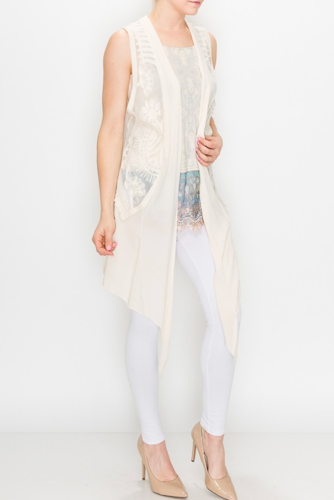 Natural Lace Vest with Gauze Layer
