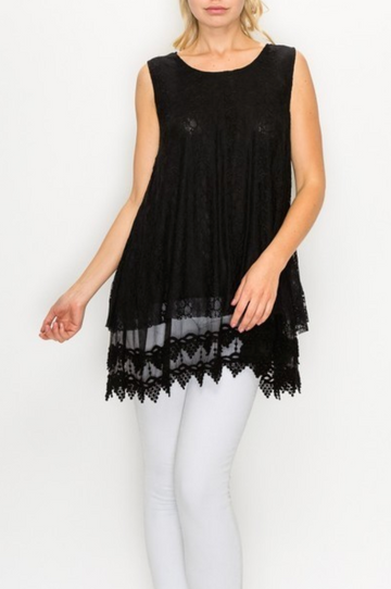 Black Lace Tunic Top
