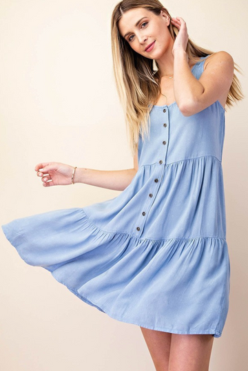 Light Denim Washed Lovely Button Down Dress