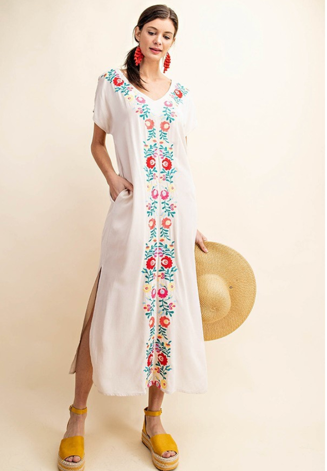 Sand Embroidered Long Dress with Pockets and Side Slit