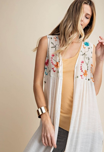 Cream Embroidered Long Cardigan