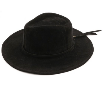 Black Faux Suede Wide Brim Hat with Tassel