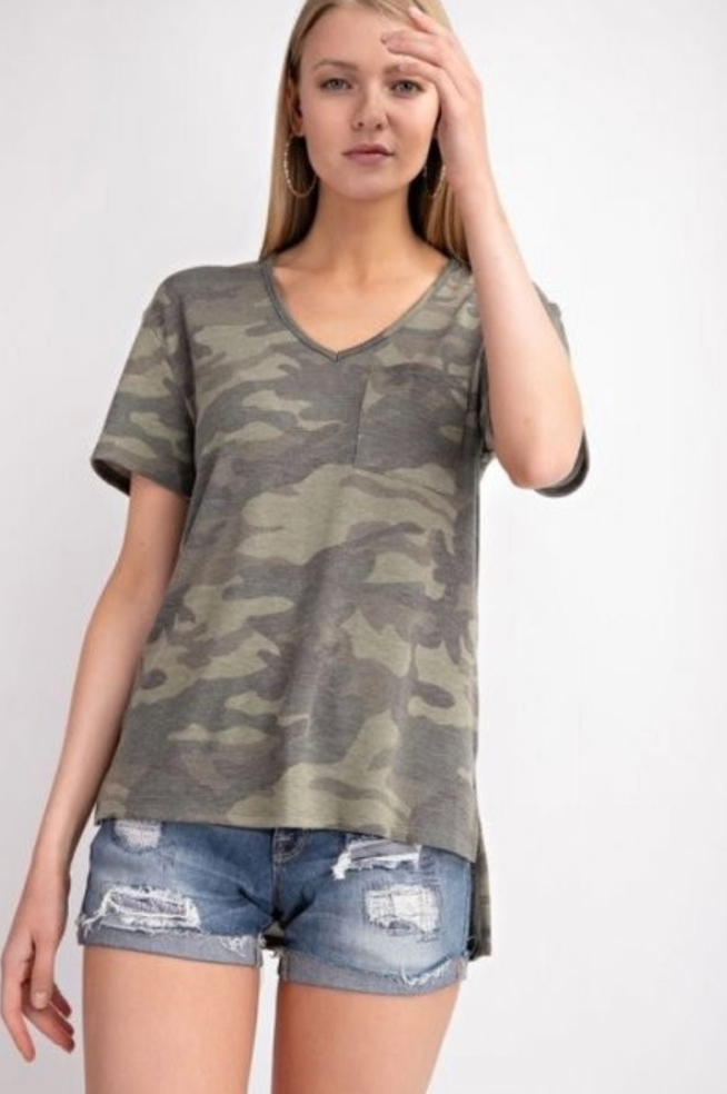 Olive Camo V-Neck Lounge Top