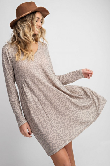 Grey Leopard Print Soft Knit V-Neck Long Sleeve Lounge Dress