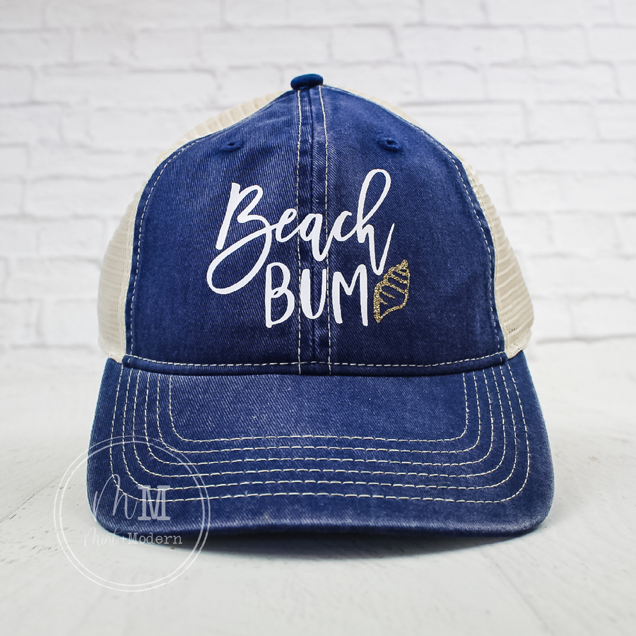 Beach Bum Ballcap - Snapback Hat - Messy Hair Hat