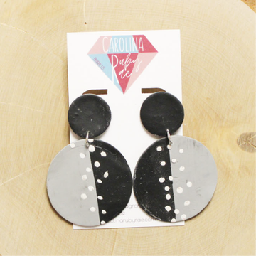 Black & Gray Abstract Dot Circle Dangles Handmade Clay Earrings