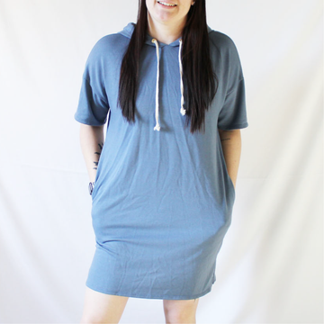 Denim Blue French Terry Hoodie Pocket Dress
