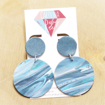 Blue Tie Dye Marble Dangles Handmade Clay Earrings