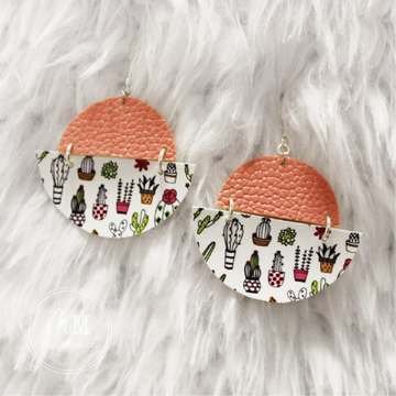 Cactus & Coral Vegan Leather Handmade Earrings