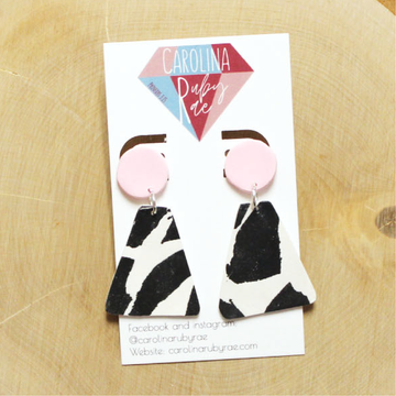 Blush Cow Bell Handmade Clay Earrings
