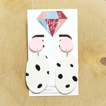 Blush Oval Dalmatian Dangles Handmade Clay Earrings