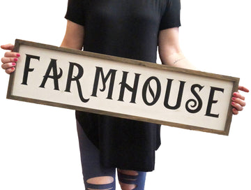 Framed Wooden Hand-Painted Farmhouse Sign