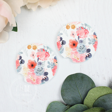 Pink Floral Ceramic Car Coaster Set 2.5