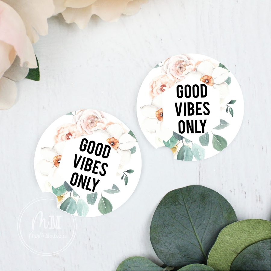 Boho Good Vibes Only Ceramic Car Coaster Set 2.5