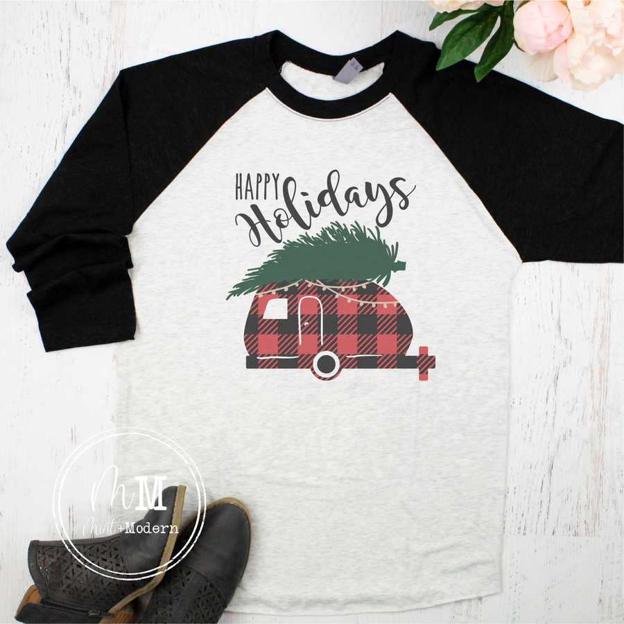 Happy Holidays Buffalo Plaid Camper Raglan