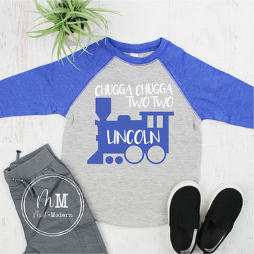 Chugga Chugga Two Two Train Toddler Boy's Birthday Shirt - Chugga Chugga Two Two Raglan - Warm Weather