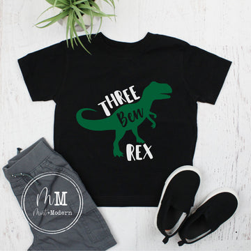 Three Rex Dinosaur Toddler Boy's Birthday Shirt - Third Birthday Shirt