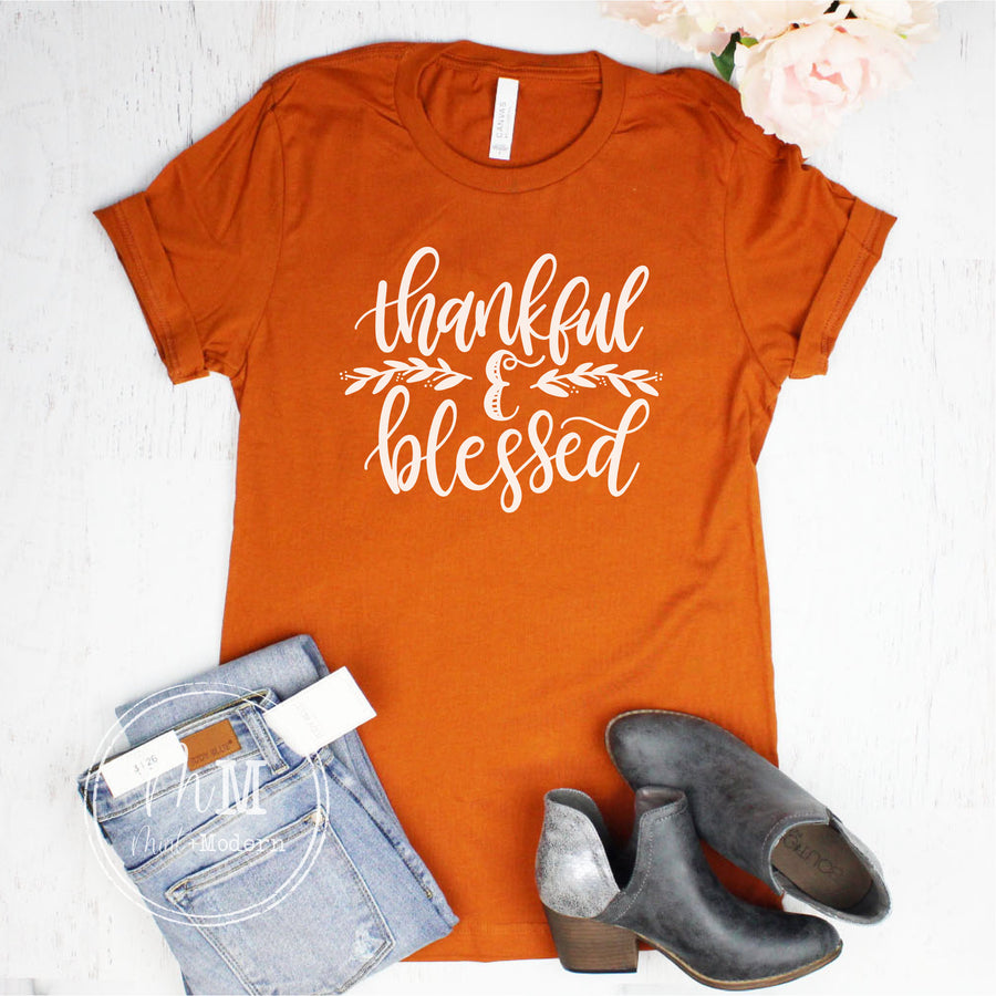 Thankful and Blessed Shirt - Thanksgiving Shirt