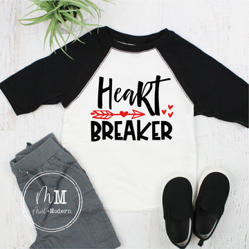 Heart Breaker Raglan - Toddler Valentine's Day Shirt