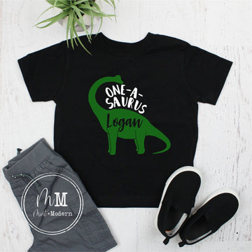 One-A-Saurus Dinosaur Toddler Boy's Birthday Shirt - First Birthday Shirt