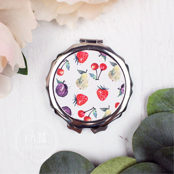 Watercolor Fruit Compact Mirror with Scalloped Detail