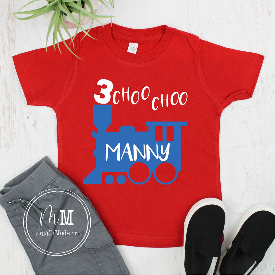 Choo Choo I'm Three Train Toddler Boy's Birthday Shirt