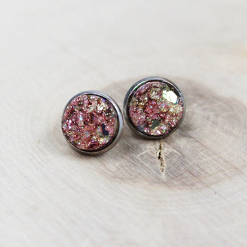 Faux Druzy Glitter Resin Earrings - ANY COLOR