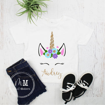 Unicorn Shirt - Toddler Unicorn Shirt - Unicorn Birthday - Monogram Unicorn